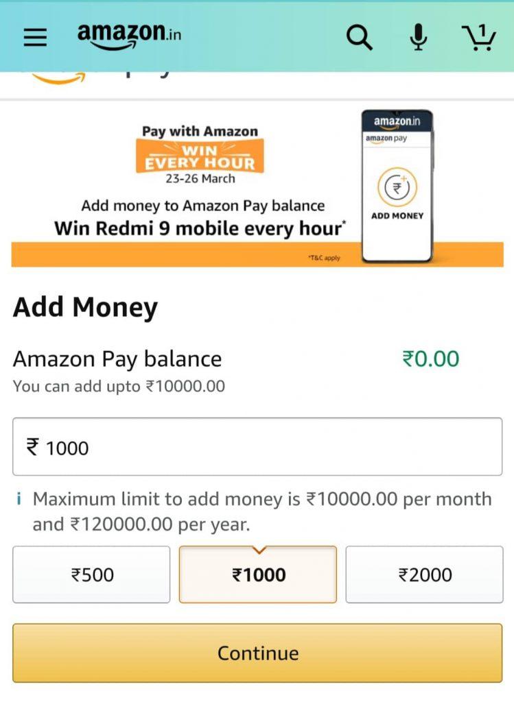Amazon Pay Add Money Option