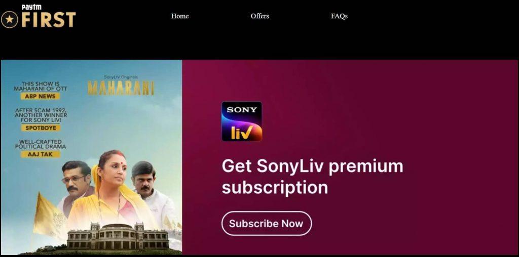 Paytm First Free SonyLIV Premium Subscription