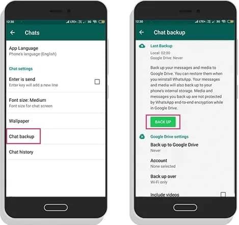 WhatsApp Chat Backup Process Shown