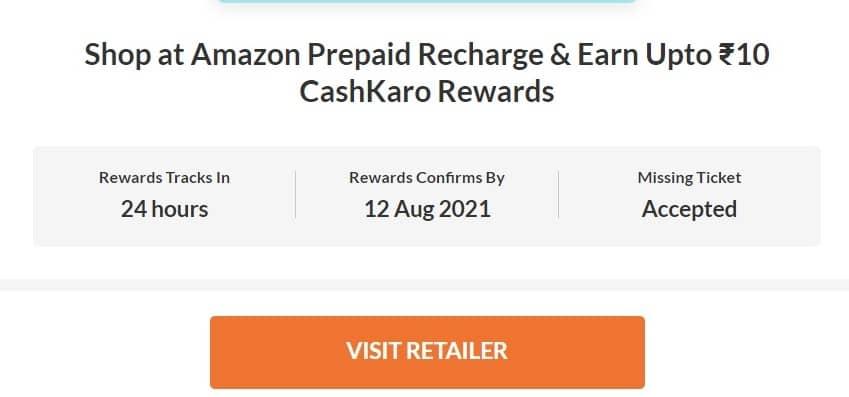 cashkaro rs10 cashback offer on amazon recharge
