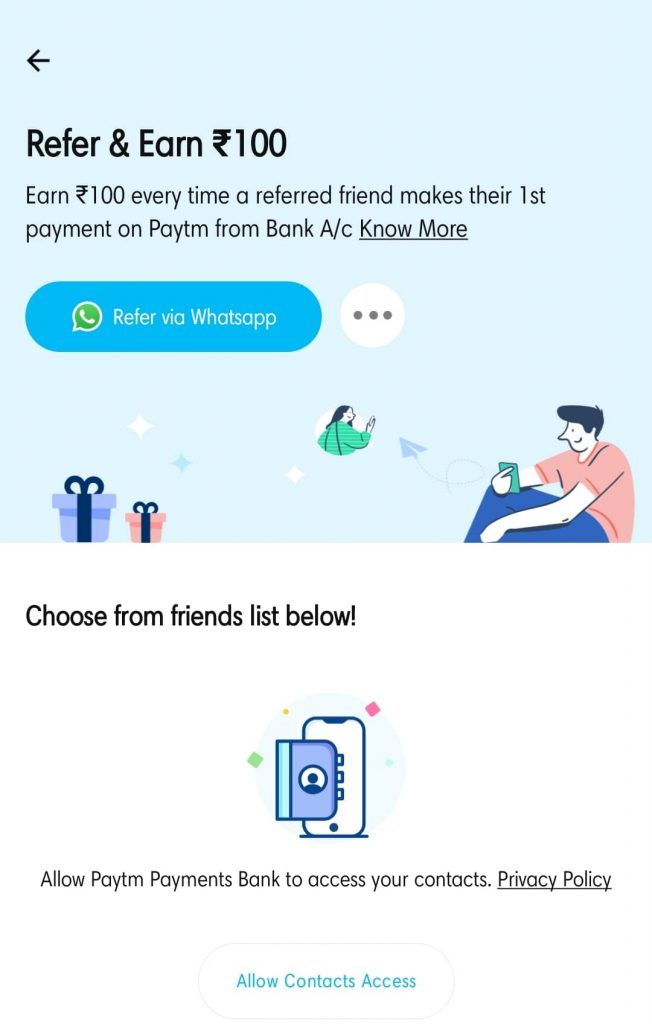 Paytm Refer And Earn Offer Page